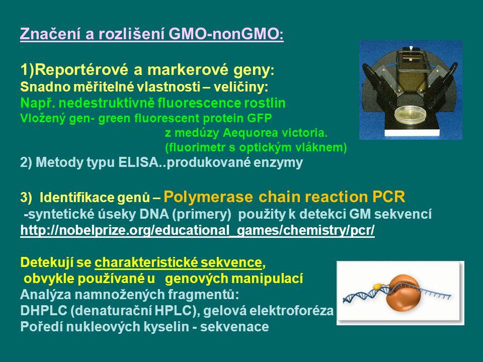 Značení a rozlišení GMO-nonGMO: Reportérové a markerové geny: