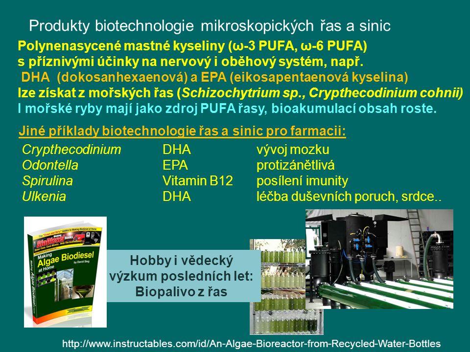 Produkty biotechnologie mikroskopických řas a sinic