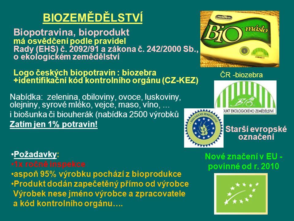 BIOZEMĚDĚLSTVÍ Biopotravina, bioprodukt má osvědčení podle pravidel