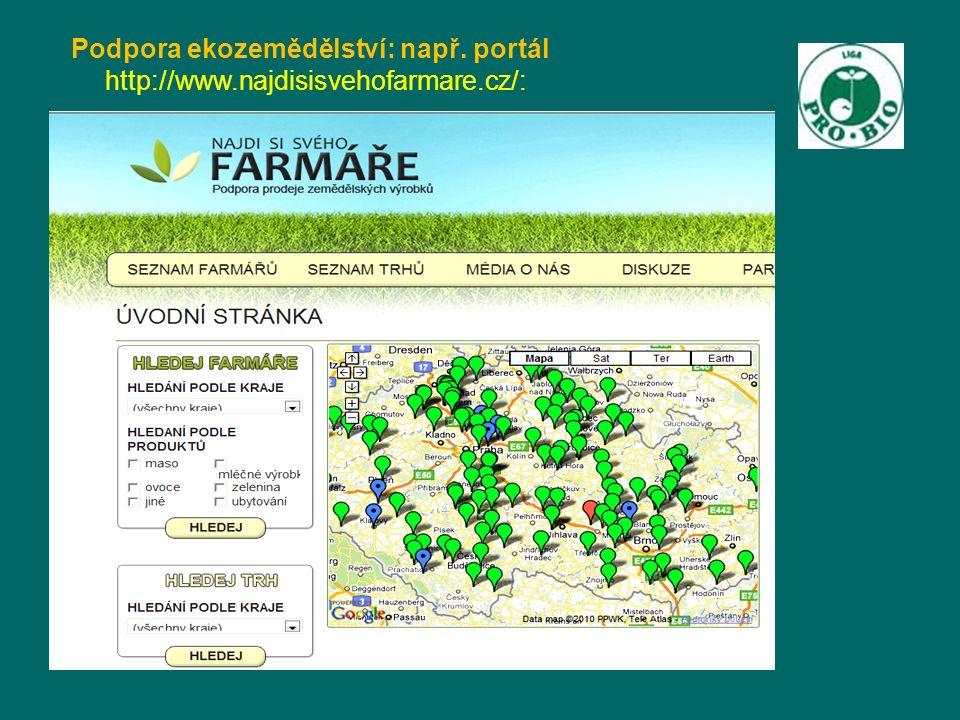 Podpora ekozemědělství: např. portál