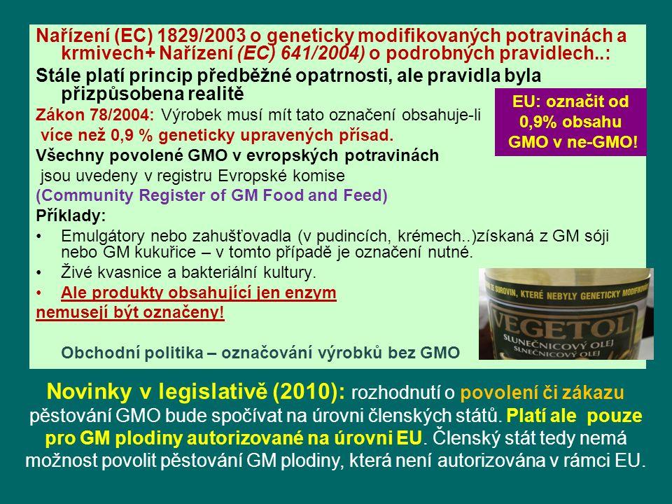 Nařízení (EC) 1829/2003 o geneticky modifikovaných potravinách a krmivech+ Nařízení (EC) 641/2004) o podrobných pravidlech..: