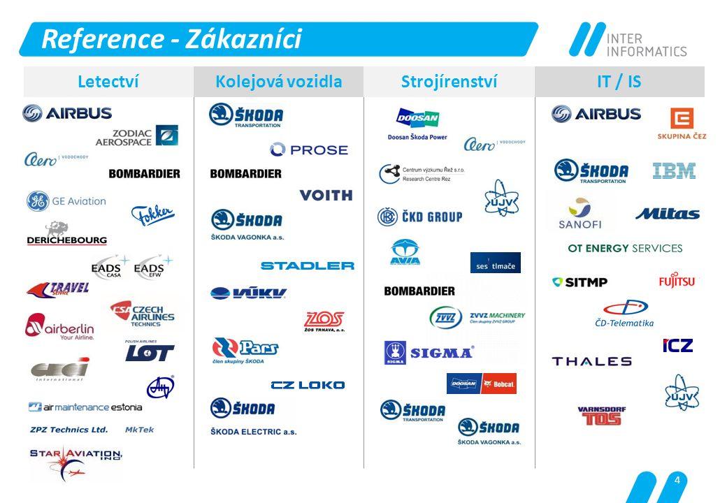 Reference - Zákazníci Letectví Kolejová vozidla Strojírenství IT / IS