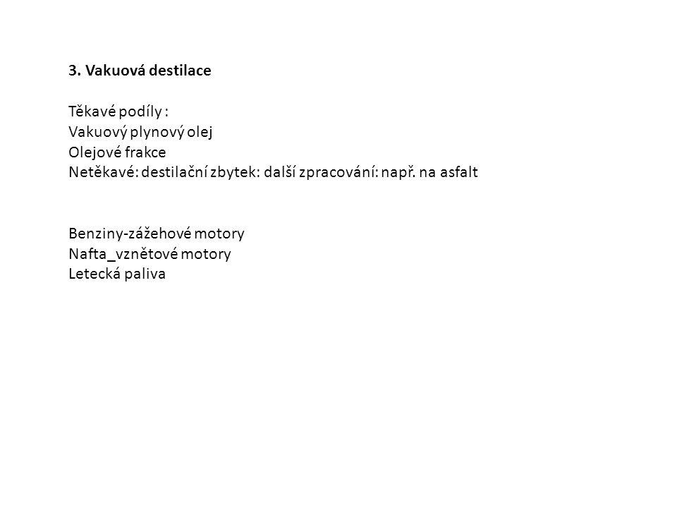 3. Vakuová destilace Těkavé podíly : Vakuový plynový olej. Olejové frakce. Netěkavé: destilační zbytek: další zpracování: např. na asfalt.