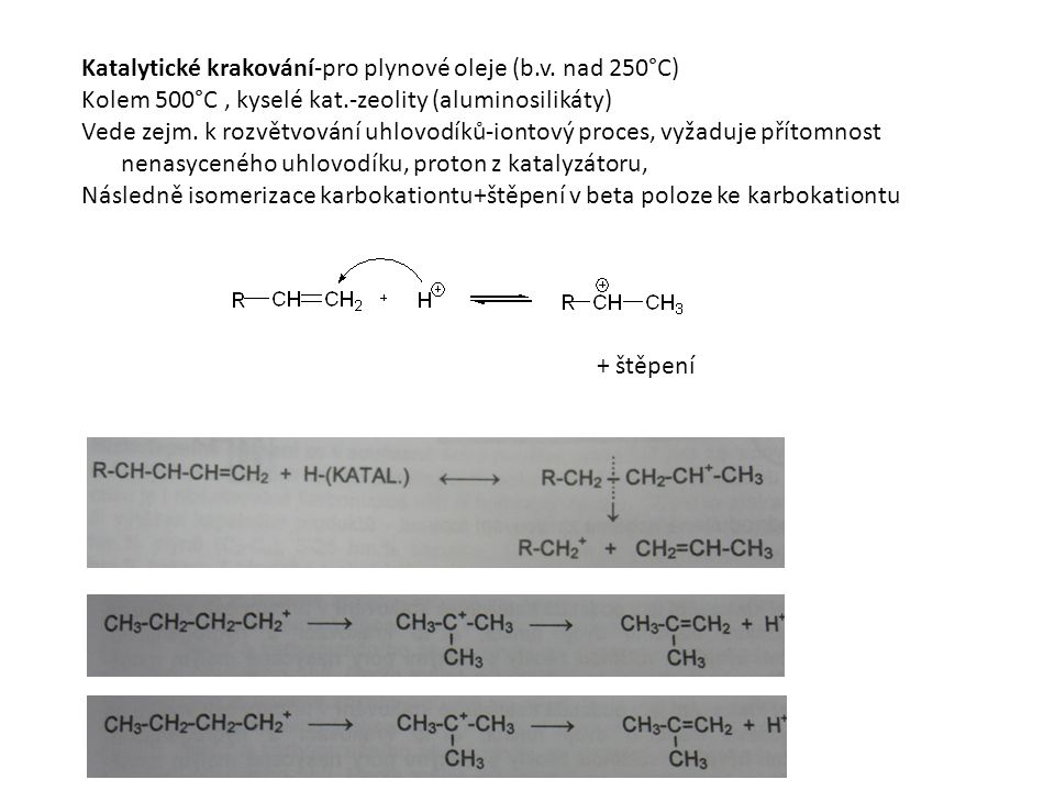 Katalytické krakování-pro plynové oleje (b.v. nad 250°C)