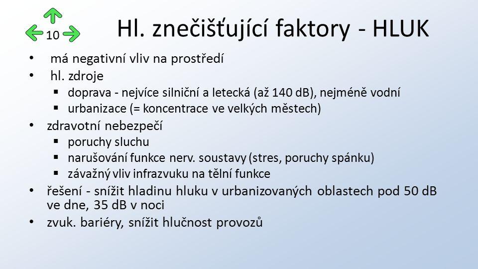 Hl. znečišťující faktory - HLUK
