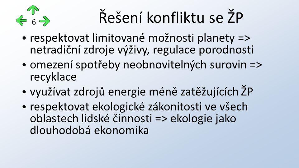Řešení konfliktu se ŽP 6. respektovat limitované možnosti planety => netradiční zdroje výživy, regulace porodnosti.
