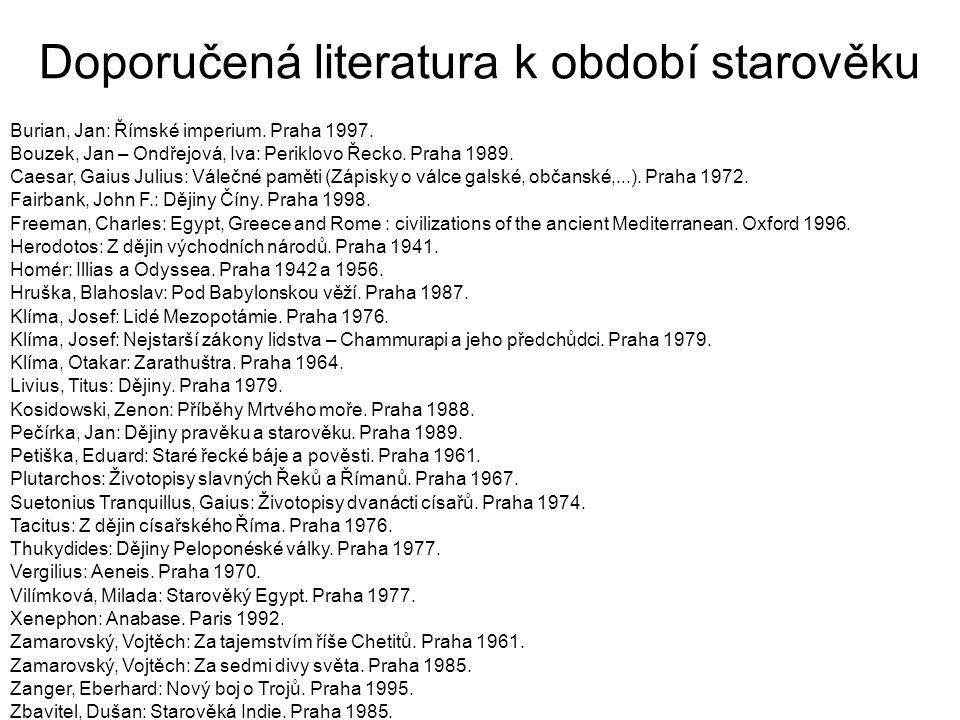 Doporučená literatura k období starověku