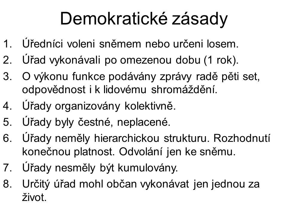 Demokratické zásady Úředníci voleni sněmem nebo určeni losem.