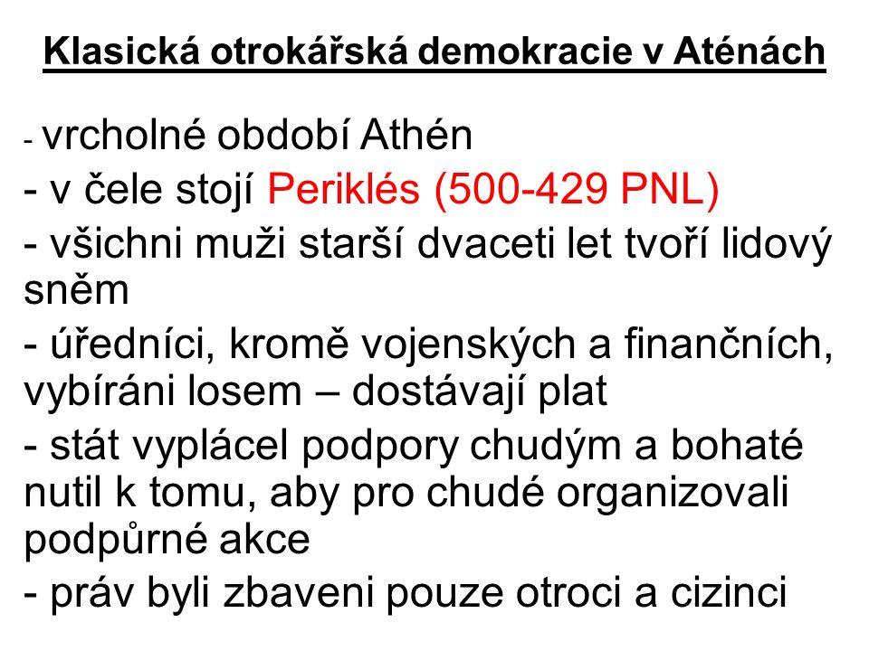 Klasická otrokářská demokracie v Aténách
