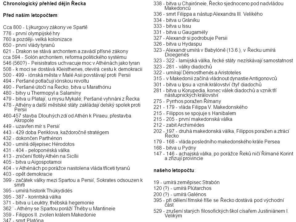 Chronologický přehled dějin Řecka