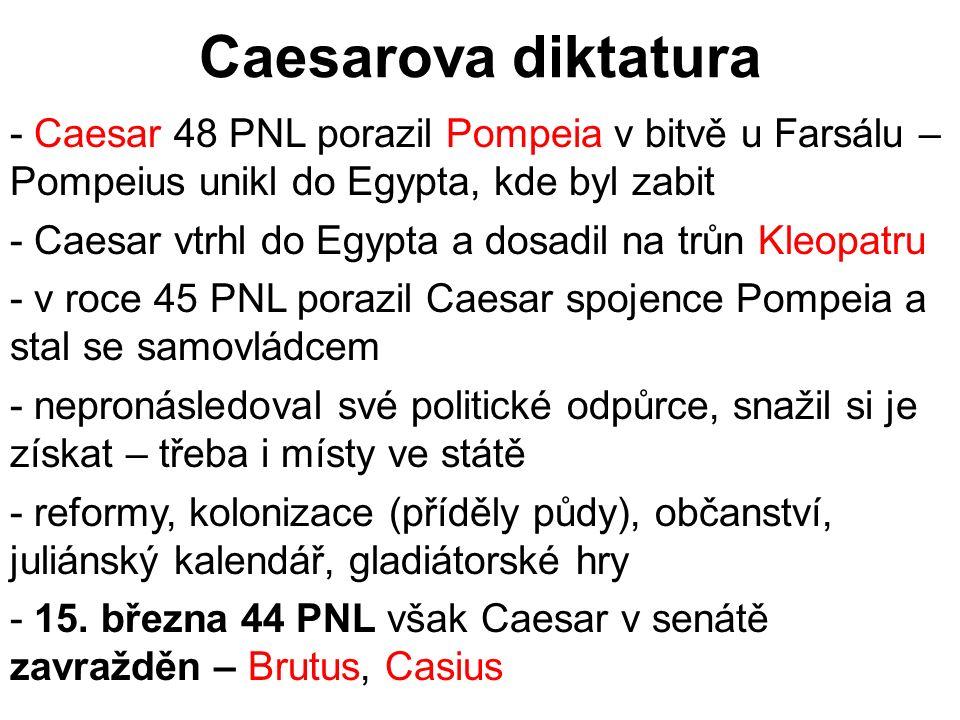 Caesarova diktatura Caesar 48 PNL porazil Pompeia v bitvě u Farsálu – Pompeius unikl do Egypta, kde byl zabit.