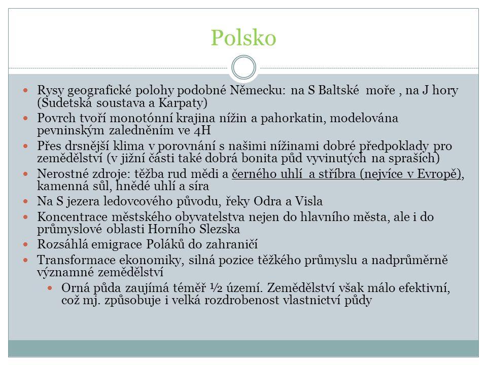 Polsko Rysy geografické polohy podobné Německu: na S Baltské moře , na J hory (Sudetská soustava a Karpaty)