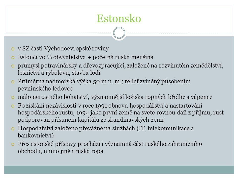 Estonsko v SZ části Východoevropské roviny