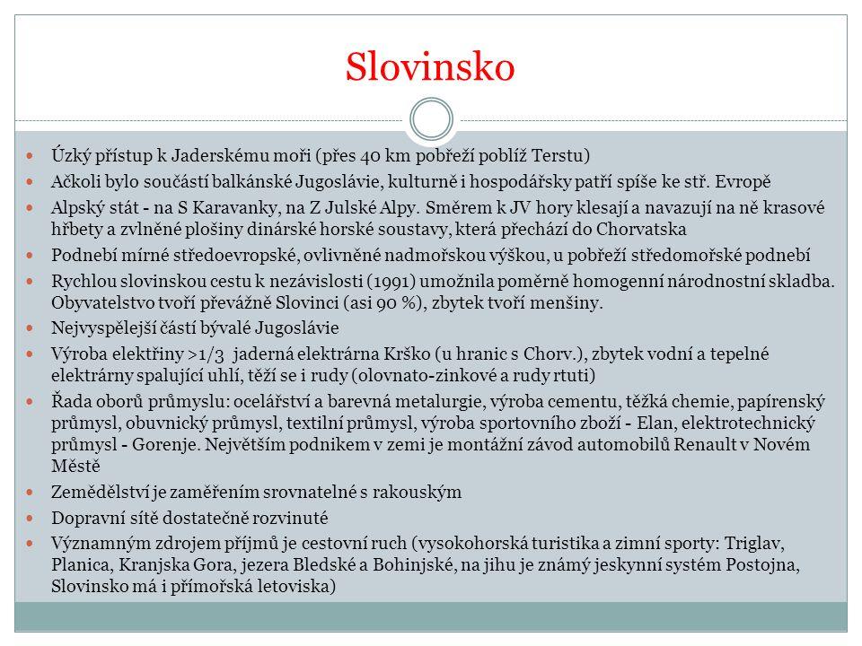 Slovinsko Úzký přístup k Jaderskému moři (přes 40 km pobřeží poblíž Terstu)