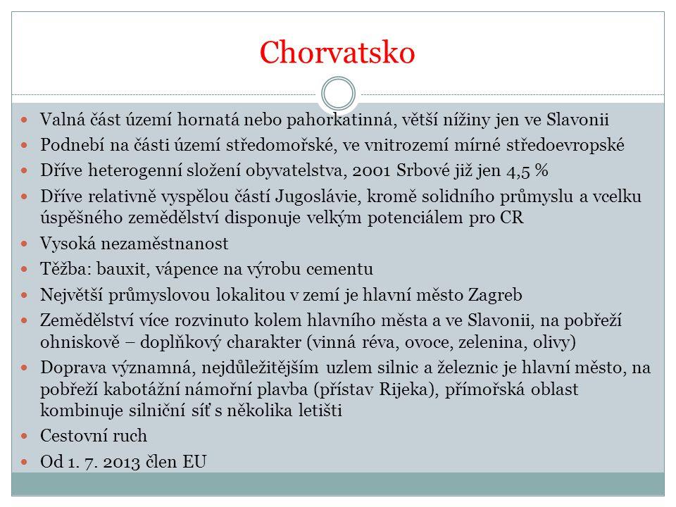 Chorvatsko Valná část území hornatá nebo pahorkatinná, větší nížiny jen ve Slavonii.