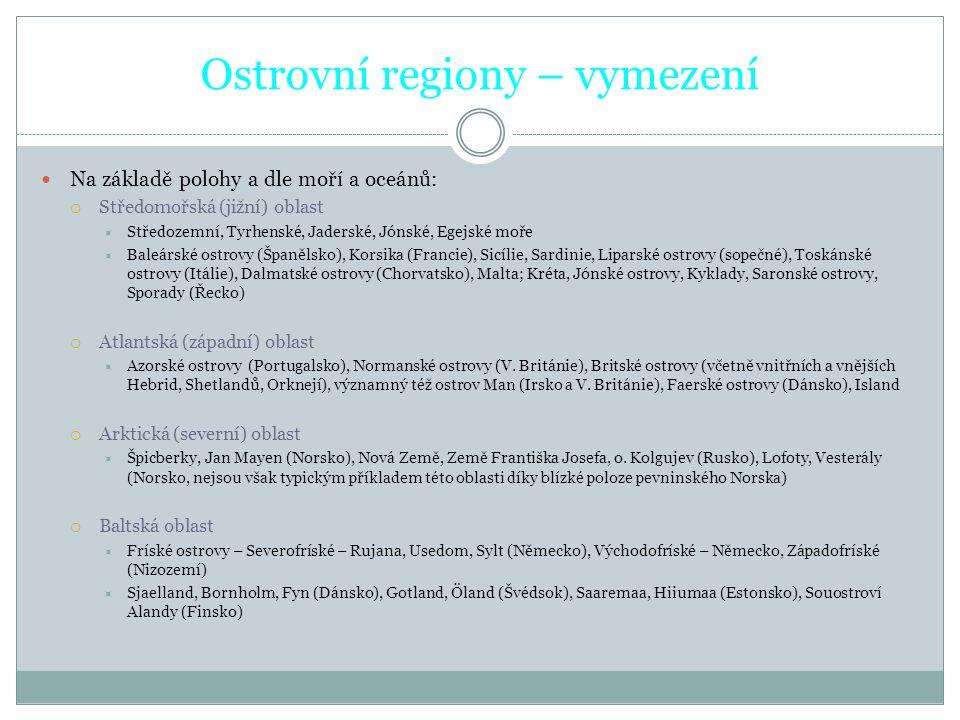 Ostrovní regiony – vymezení