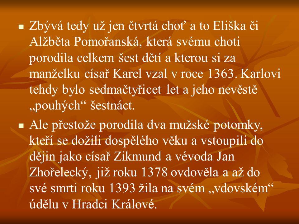 """Zbývá tedy už jen čtvrtá choť a to Eliška či Alžběta Pomořanská, která svému choti porodila celkem šest dětí a kterou si za manželku císař Karel vzal v roce 1363. Karlovi tehdy bylo sedmačtyřicet let a jeho nevěstě """"pouhých šestnáct."""