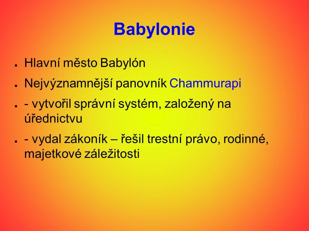 Babylonie Hlavní město Babylón Nejvýznamnější panovník Chammurapi