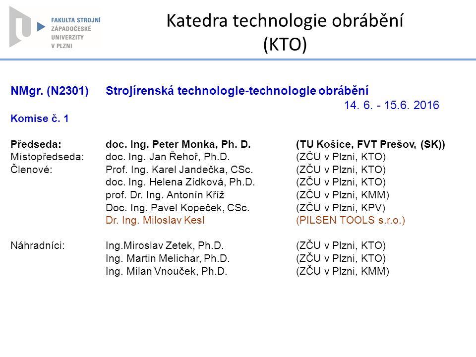 Katedra technologie obrábění (KTO)