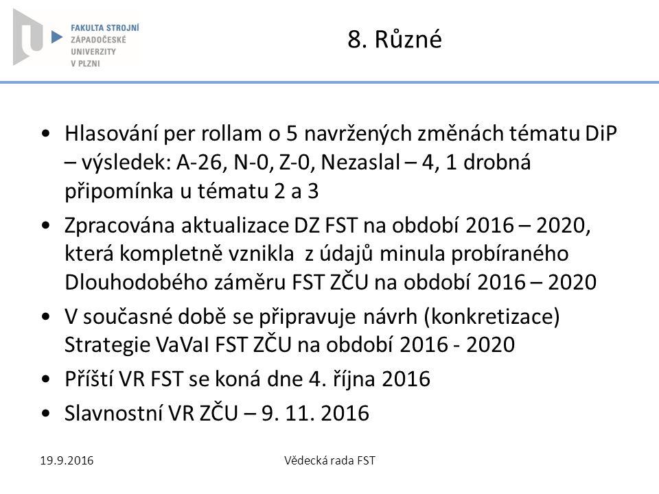 8. Různé Hlasování per rollam o 5 navržených změnách tématu DiP – výsledek: A-26, N-0, Z-0, Nezaslal – 4, 1 drobná připomínka u tématu 2 a 3.