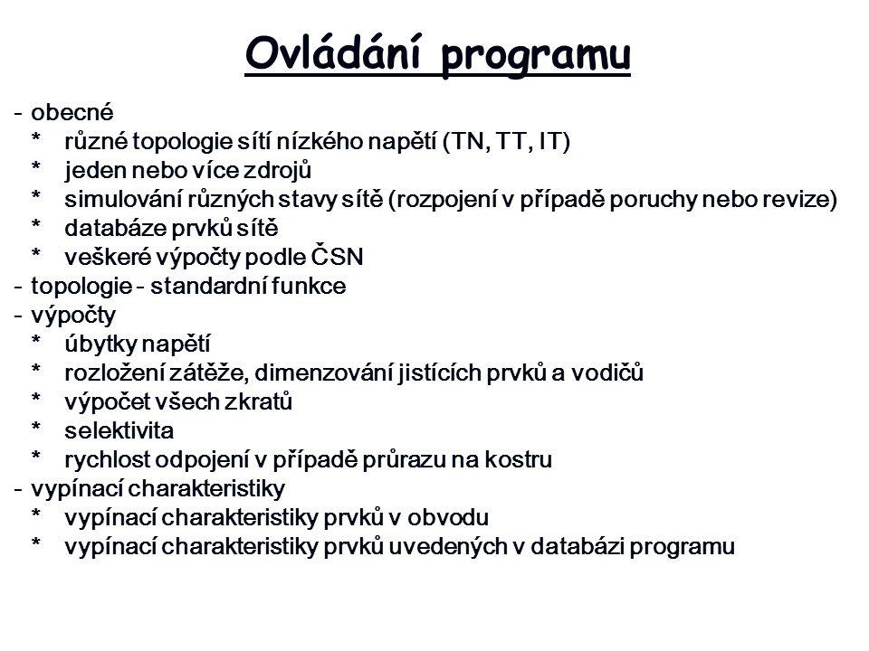 Ovládání programu - obecné