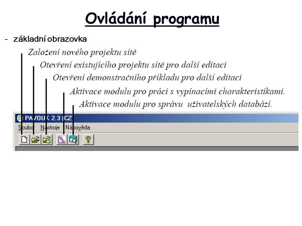 Ovládání programu - základní obrazovka