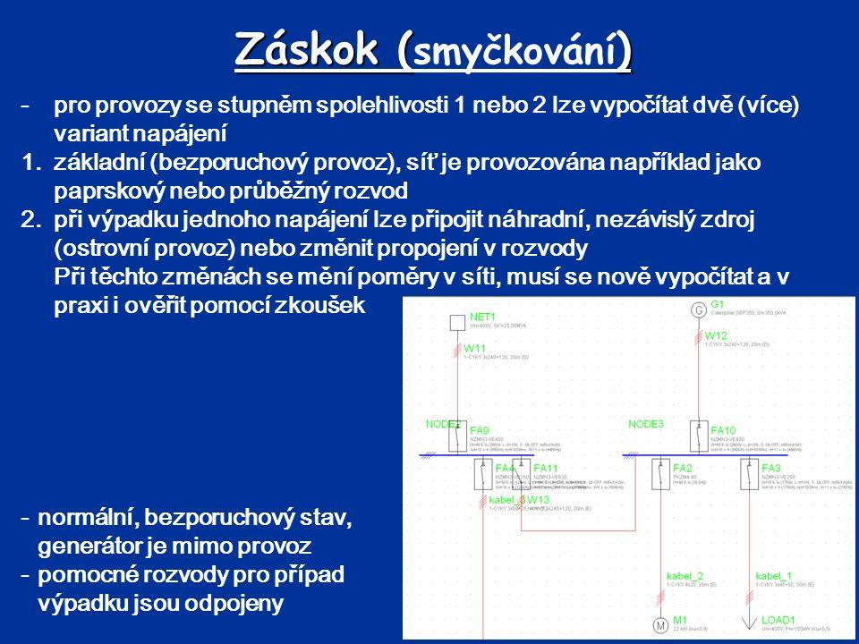 Záskok (smyčkování) - pro provozy se stupněm spolehlivosti 1 nebo 2 lze vypočítat dvě (více) variant napájení.