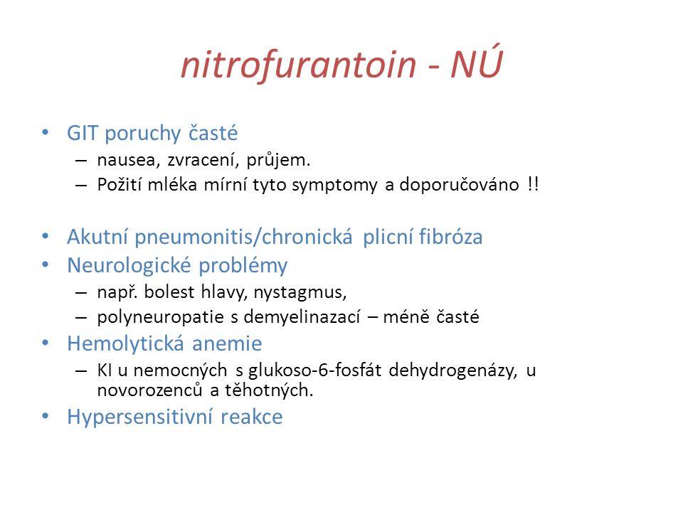 nitrofurantoin - NÚ GIT poruchy časté