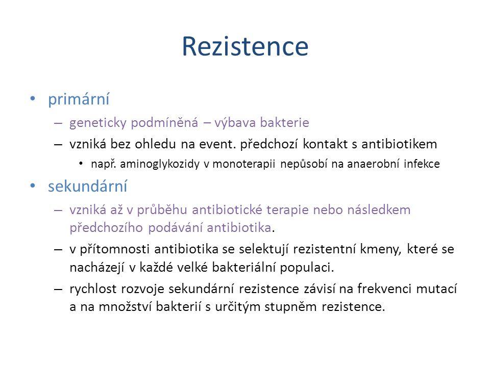 Rezistence primární sekundární geneticky podmíněná – výbava bakterie