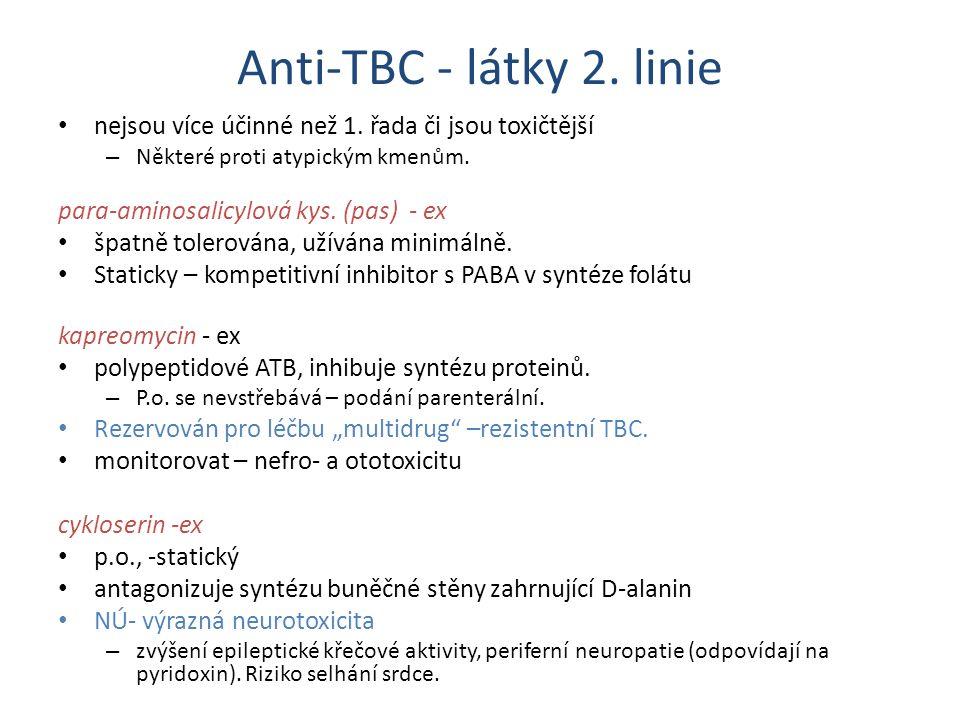 Anti-TBC - látky 2. linie nejsou více účinné než 1. řada či jsou toxičtější. Některé proti atypickým kmenům.