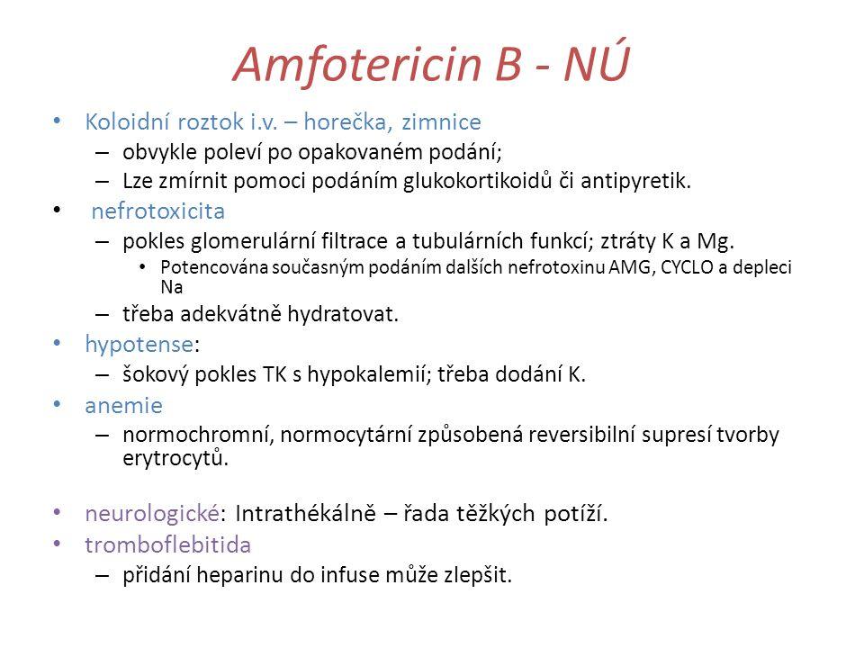 Amfotericin B - NÚ Koloidní roztok i.v. – horečka, zimnice