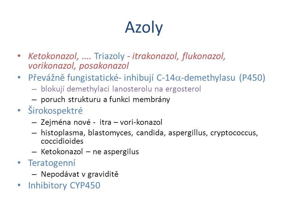 Azoly Ketokonazol, .... Triazoly - itrakonazol, flukonazol, vorikonazol, posakonazol. Převážně fungistatické- inhibují C-14a-demethylasu (P450)