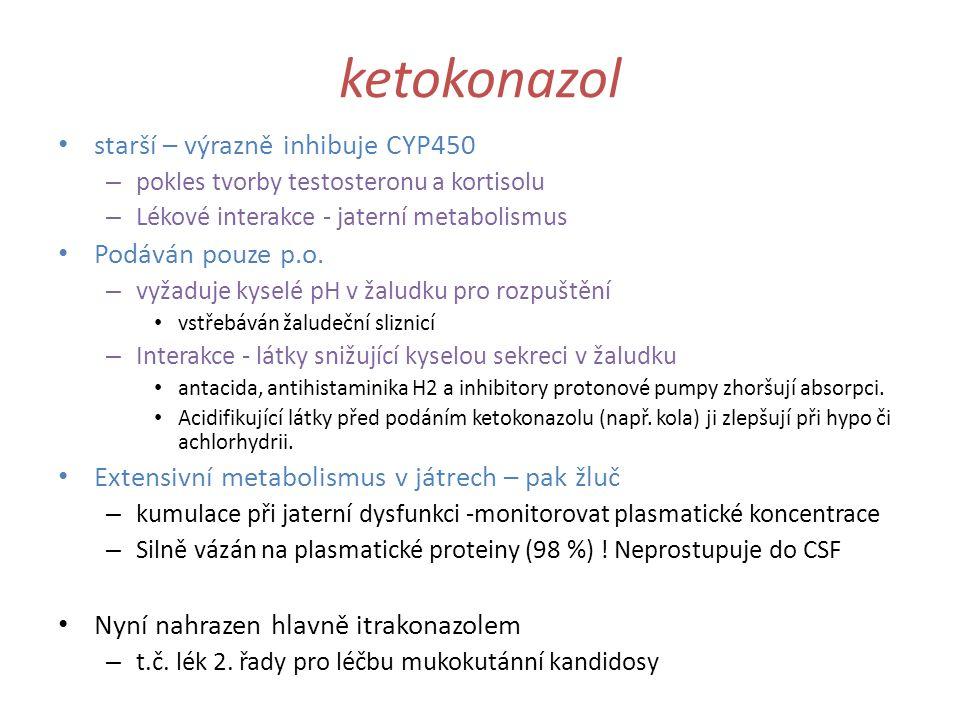 ketokonazol starší – výrazně inhibuje CYP450 Podáván pouze p.o.