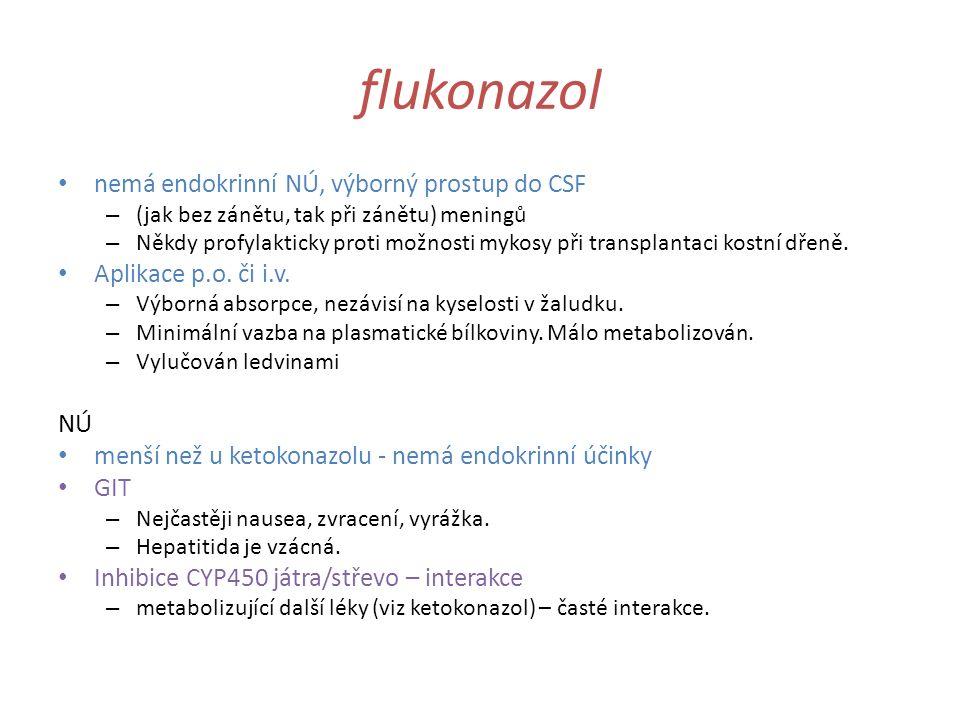 flukonazol nemá endokrinní NÚ, výborný prostup do CSF