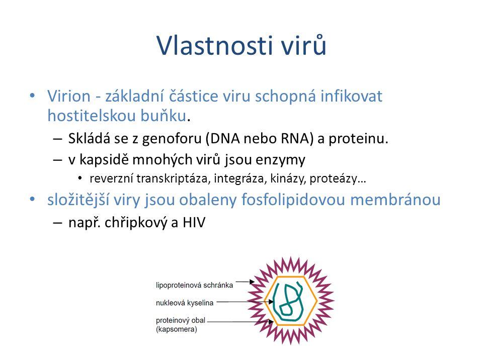 Vlastnosti virů Virion - základní částice viru schopná infikovat hostitelskou buňku. Skládá se z genoforu (DNA nebo RNA) a proteinu.