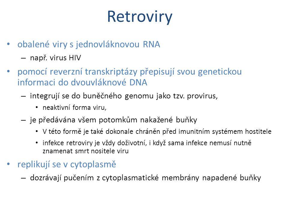 Retroviry obalené viry s jednovláknovou RNA