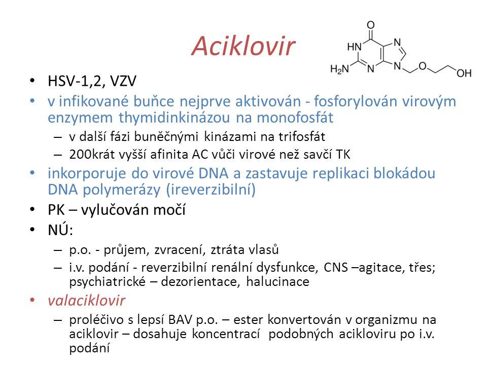Aciklovir HSV-1,2, VZV. v infikované buňce nejprve aktivován - fosforylován virovým enzymem thymidinkinázou na monofosfát.