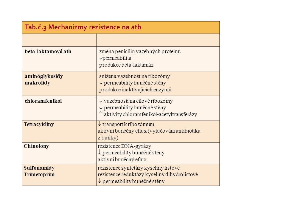 Tab.č.3 Mechanizmy rezistence na atb