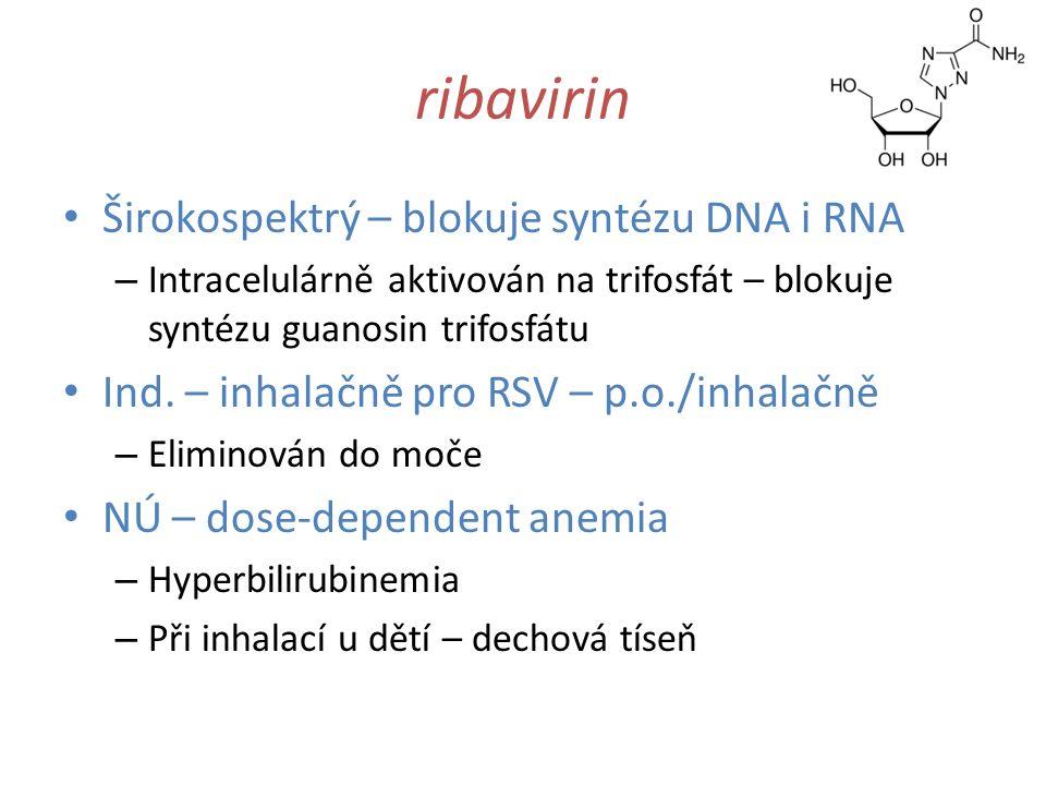 ribavirin Širokospektrý – blokuje syntézu DNA i RNA