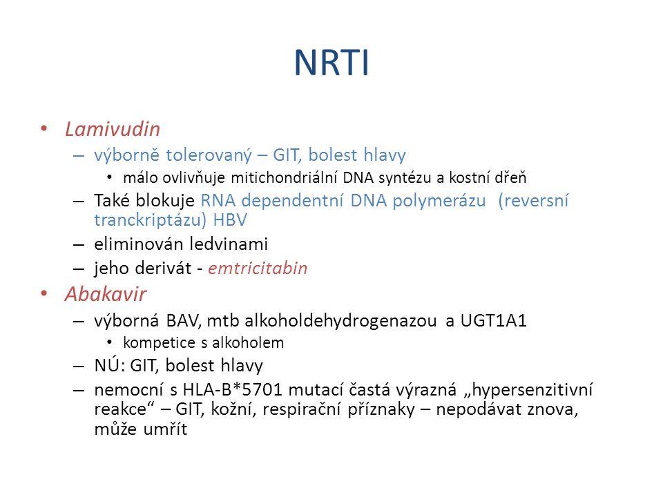 NRTI Lamivudin Abakavir výborně tolerovaný – GIT, bolest hlavy