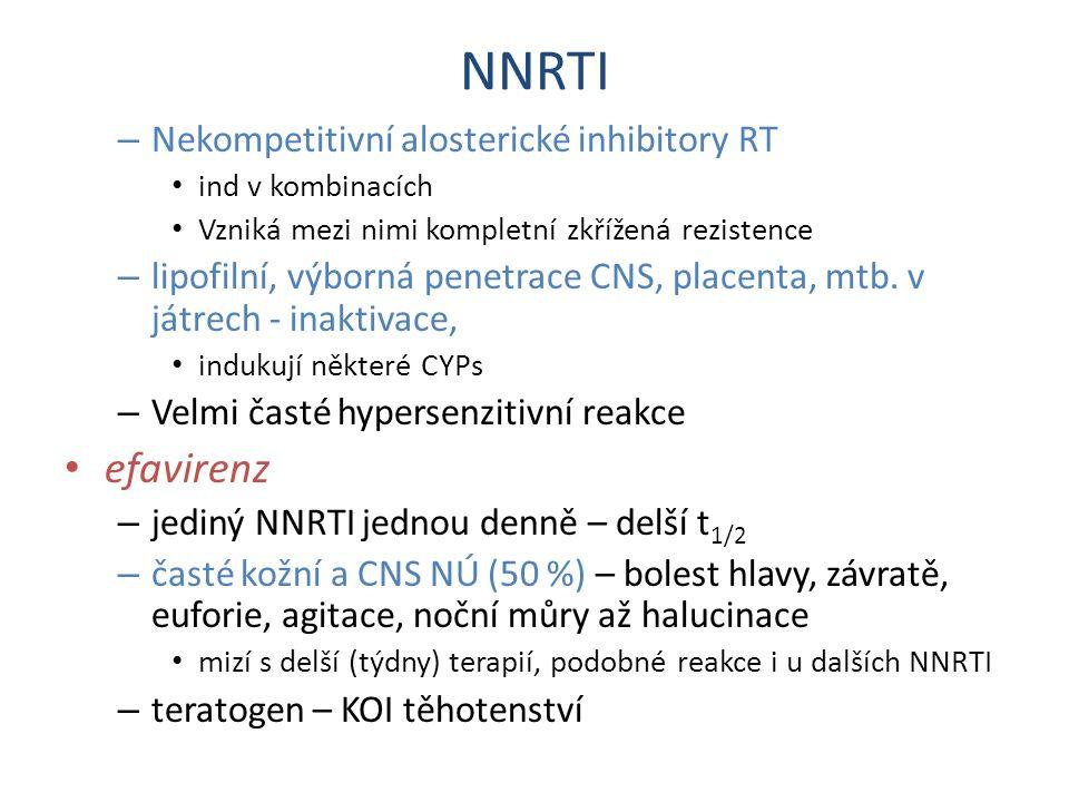 NNRTI efavirenz Nekompetitivní alosterické inhibitory RT