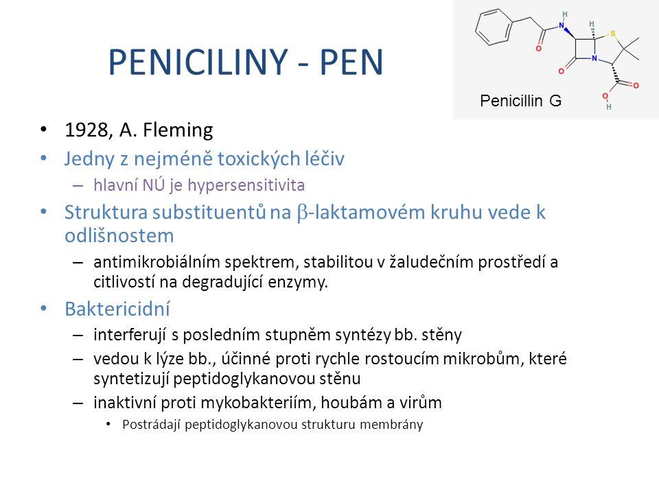 PENICILINY - PEN 1928, A. Fleming Jedny z nejméně toxických léčiv