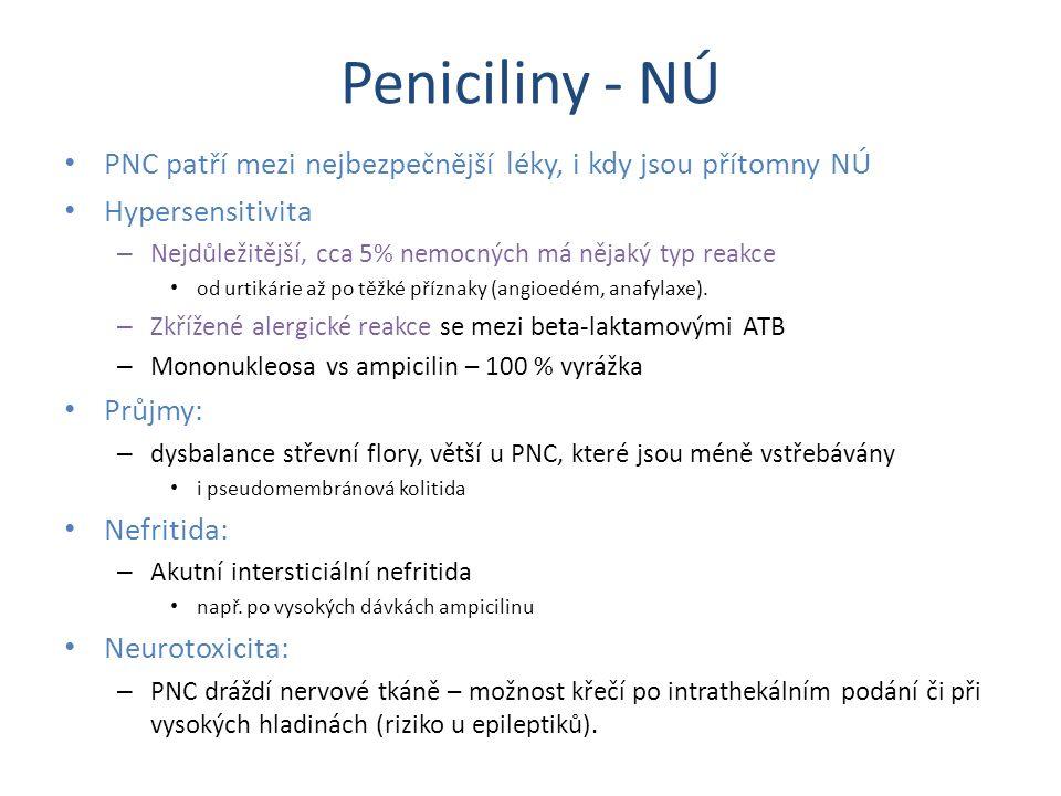 Peniciliny - NÚ PNC patří mezi nejbezpečnější léky, i kdy jsou přítomny NÚ. Hypersensitivita. Nejdůležitější, cca 5% nemocných má nějaký typ reakce.