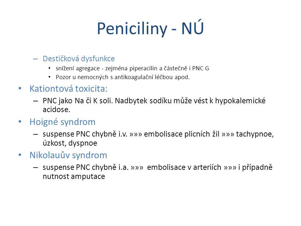 Peniciliny - NÚ Kationtová toxicita: Hoigné syndrom Nikolauův syndrom