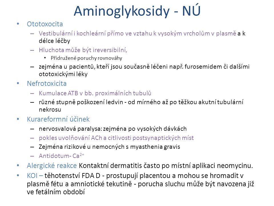 Aminoglykosidy - NÚ Ototoxocita Nefrotoxicita Kurareformní účinek