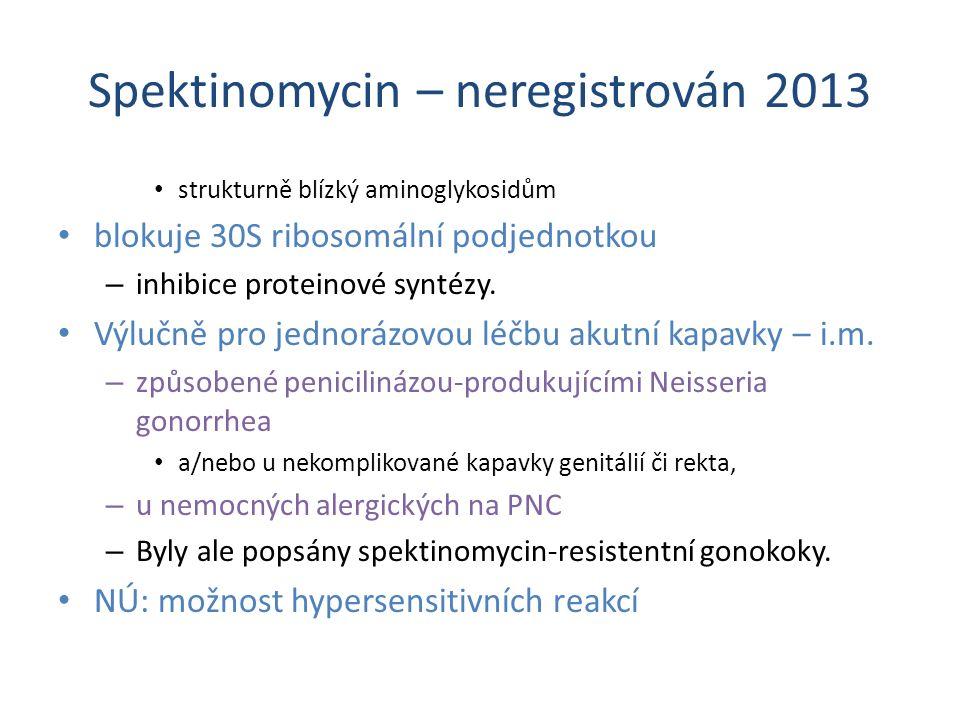 Spektinomycin – neregistrován 2013
