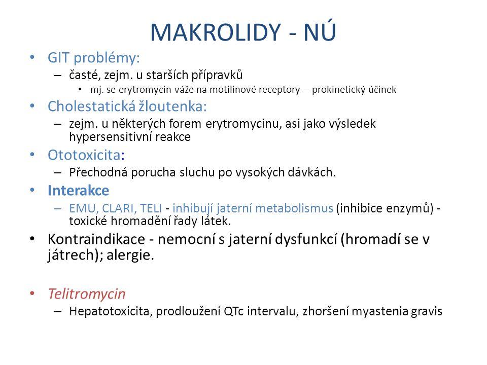 MAKROLIDY - NÚ GIT problémy: Cholestatická žloutenka: Ototoxicita:
