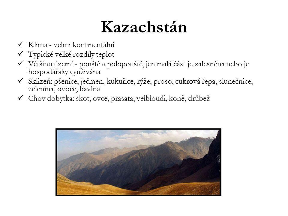 Kazachstán Klima - velmi kontinentální Typické velké rozdíly teplot