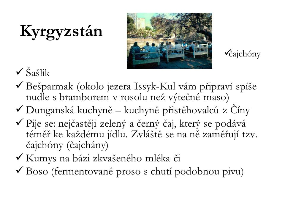 Kyrgyzstán čajchóny. Šašlik. Bešparmak (okolo jezera Issyk-Kul vám připraví spíše nudle s bramborem v rosolu než výtečné maso)