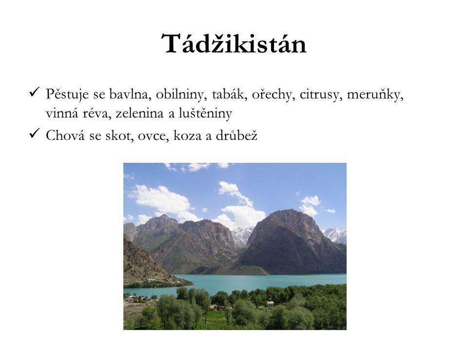 Tádžikistán Pěstuje se bavlna, obilniny, tabák, ořechy, citrusy, meruňky, vinná réva, zelenina a luštěniny.